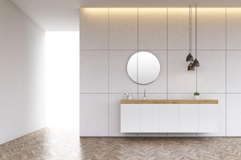 scandinavische witte badkamer